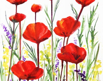 Red Poppies Original 18x12  Painting Free Shipping in US