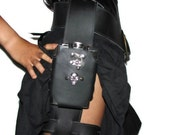 Leather Leg Flask Holster with optional Skull Concho and Spikes