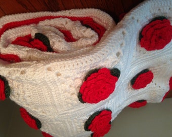 Crochet Afghan Bouquet of Red Roses and White Granny Square Original with Heart Shaped Prayer Box