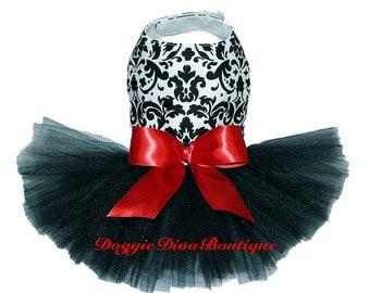Dog Tutu Dress Damask black tutu skirt XXS, XS or Small