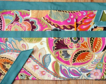 BOGO sale on now! 4-Pocket Crafters Gardening Apron // Jade Green & Pink Paisley Print // Size Large/XL