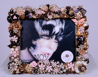 Black & Pink Romantic Jeweled Picture Frame