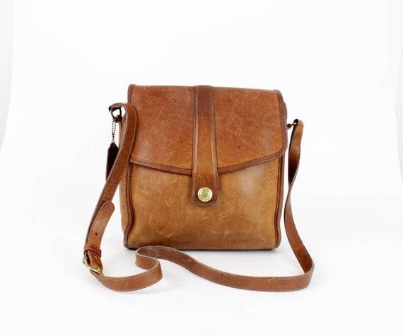 Coach bag / chestnut leather crossbody satchel bag