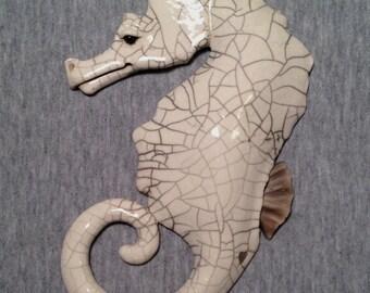 OOAK Raku Seahorse -SIGH- Ceramic Sculpture