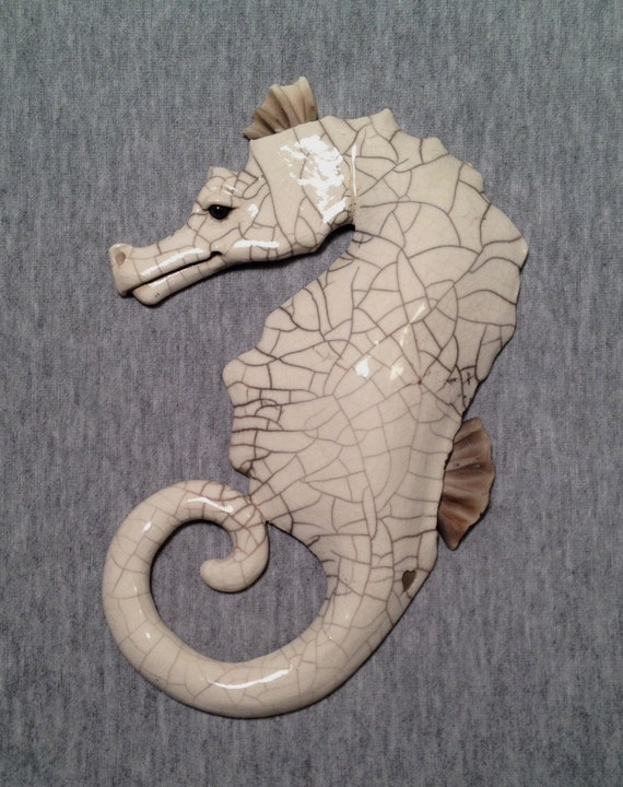 Escultura en cerámica Raku Seahorse - suspiro - OOAK