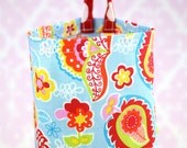 Fabric Plastic Bag Holder -Rainbow Paisley Red Pink Green Yellow on Blue