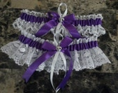 Purple  Wedding Garter set any size, color or style.