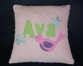 Pink Minky Applique Bird Pillow for Ava- Ready to Ship -Only One