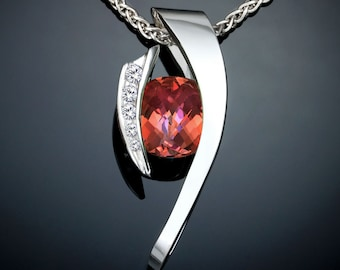 mystic topaz necklace, statement necklace, Argentium silver pendant, white sapphires, designer jewelry, orange gemstone, bold necklace  3374