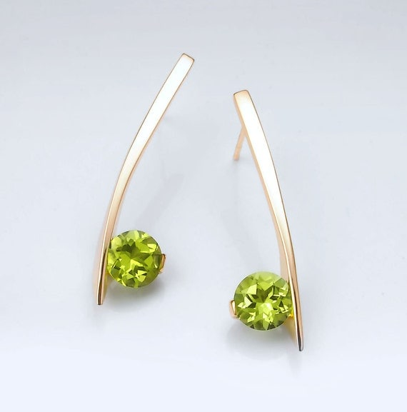 14k yellow gold earrings, peridot earrings, August birthstone, fine jewelry, gemstone earrings, modern earrings, artisan earrings - 2458