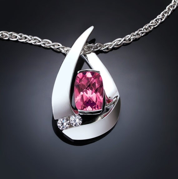 pink topaz necklace, wedding, Mother's day, white sapphires, Argentium silver pendant, contemporary jewelry - 3378