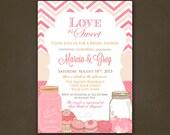 Love is Sweet Chevron Bridal Shower Invitations Printable File - Mason Jars, Hearts, Cupcakes