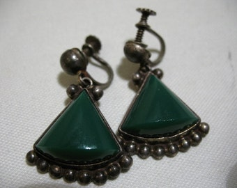 Vintage Sterling Silver and Glass Earrings, Made in Mexico