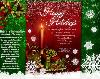 Holiday Party, Christmas Party Invitations, Christmas Card, Christmas Dinner Card, Holiday Card, Christmas Party