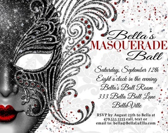 Masquerade Party, Masquerade Invitation, Mardi Gras Party