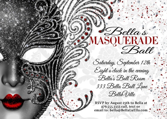 Masquerade Party Masquerade Invitation Mardi Gras by BellaLuElla: www.etsy.com/listing/156164983/masquerade-party-masquerade-invitation