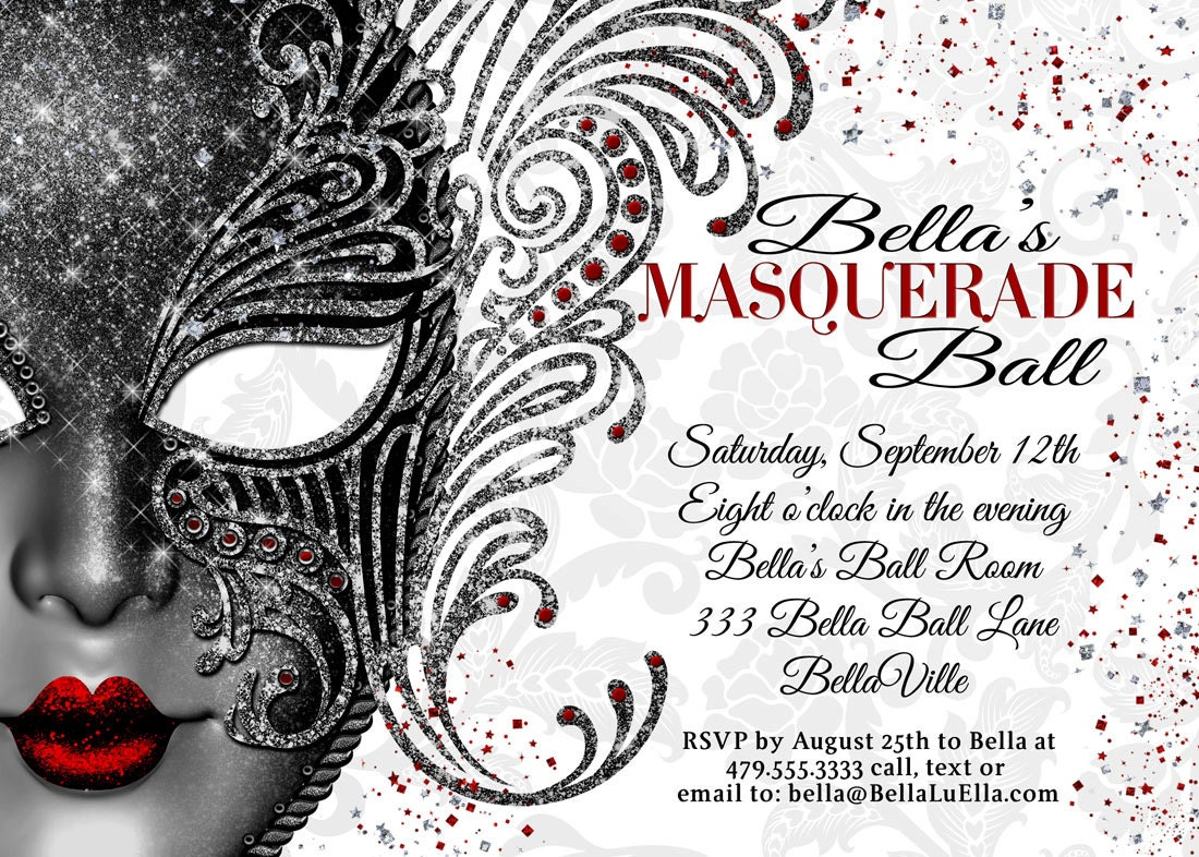 Masquerade party masquerade invitation mardi gras party for Maquerade invitations