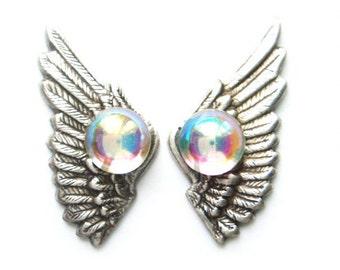 Opal Crystal Angel Wing Earrings