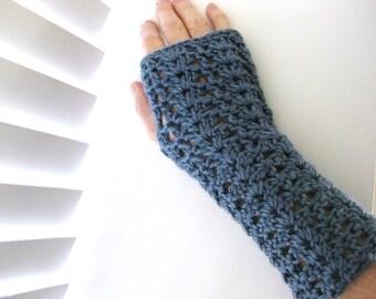 Crochet Fingerless Gloves - Blue Fingerless Gloves - Lacy Fingerless Gloves - Crocheted Fingerless Gloves - Blue Fingerless Wristlets
