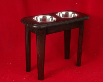 Elevated Dog Feeder Solid Oak Wood 15 High One Quart Bowls FREE NAME and STAIN