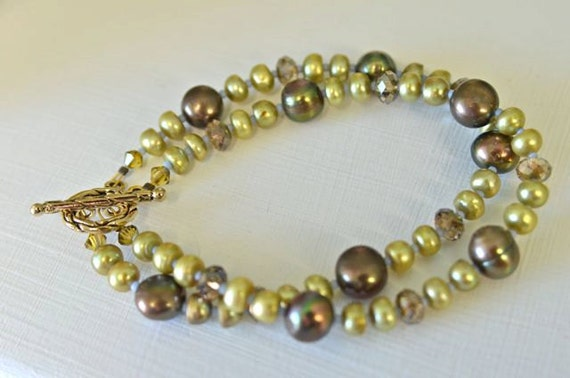 Olive Green Pearl Double Strand Bracelet with Chocolate Brown Pearls and Crystals Handmade in Maine