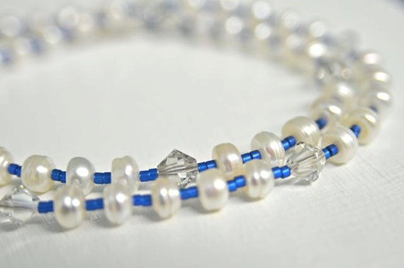 White Pearl Necklace with Sapphire Blue Glass Beads and Sterling Silver Handmade in Maine Perfect for Something Blue and New
