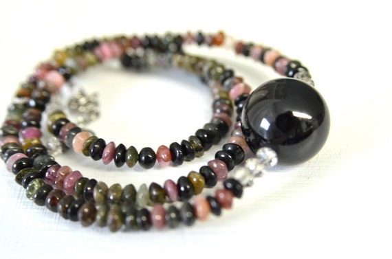 Tourmaline Necklace made with All Natural Tourmaline . Pink Tourmaline, Green Tourmaline and Deep Green Tourmaline Handmade in Maine