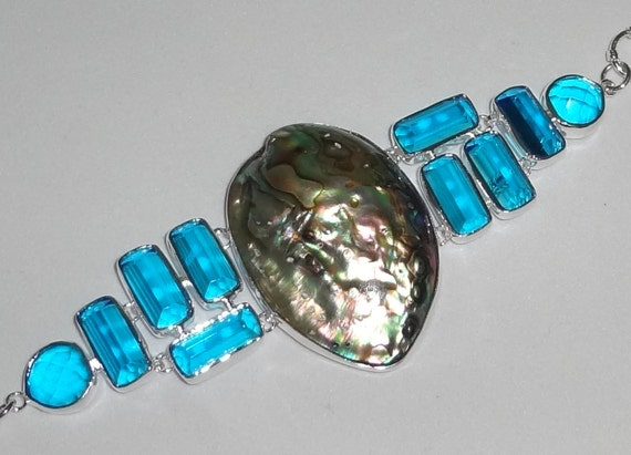 "CLEARANCE Abalone Shell, Swiss Blue Topaz Bangle Bracelet, 41 grams, 7 1/2"" adjustable with Barrow Clasp"