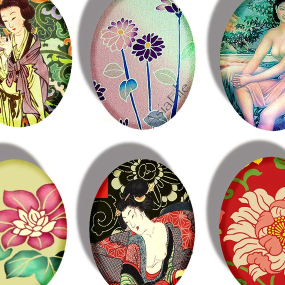 Printable Digital Collage Sheet Ovals Cabochons Image Transfer Etc  Various Asian Women and Flowers CS 91