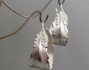 Modern, Minimalist Silver and Sterling Silver Leaf Hoop Earrings, Large
