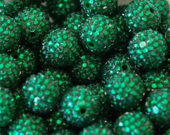 20mm Emerald Green Rhinestone Beads for Chunky Necklace 10 ct - Bubble Gum Necklace Beads - Chunky Beads Supplies