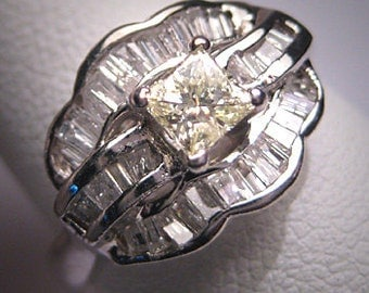 Antique Canary Diamond Wedding Ring Art Deco Vintage