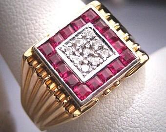 Antique Diamond Ruby Ring Vintage Art Deco Wedding 14K
