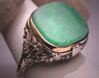 Antique Jade Ring Vintage Art Deco Filigree 14K Gold