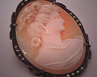Antique Cameo Brooch Vintage European Silver Pendant