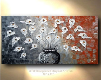 ORIGINAL Calla Lily White Flower Impasto abstract Oil contemporary Deep gallery canvas palette knife floral impasto artwork by OTO
