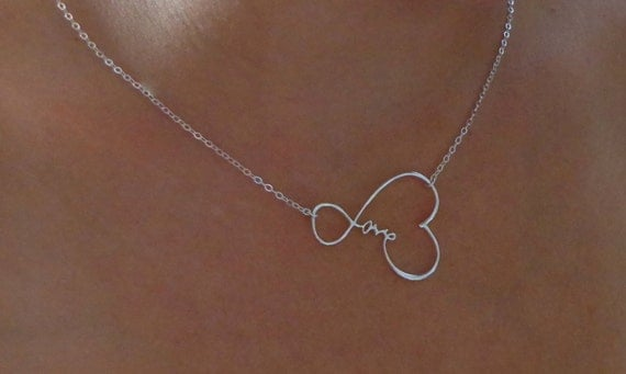 Infinity Love Heart Necklace - Sterling Silver Sideways Infinity Love Necklace,  Simplicity, Forever Necklace, Love,  Word Necklace