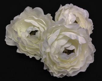 Silk Flower - THREE Cream White Ruffle Ranunculus - 3 Inches - Artificial Flowers