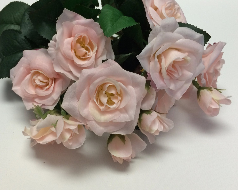 Silk Flowers 15 Inch Pink Blush Rose Bush Artificial