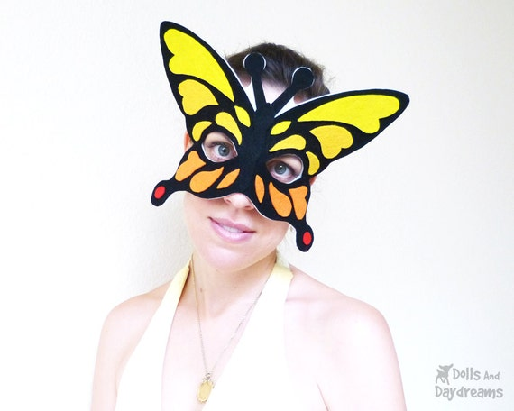 Items similar to Butterfly Mask Wing DIY Sewing Pattern Mardi Gras ...