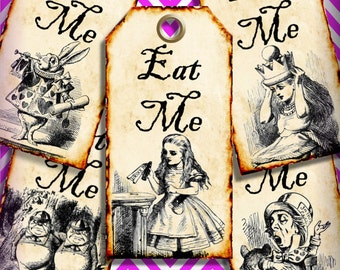 Eat Me Alice in Wonderland Favor Tags Digital Collage Sheet DIY Weddings Favor Tags Printable Download