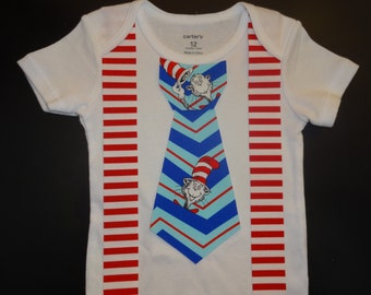 Dr. Suess Cat in the Hat Tie Iron On Applique and Suspenders