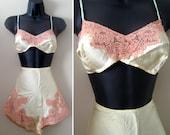 ON HOLD - Vintage 1920s Great Gatsby Lingerie - NOS Pale Jade Green Silk Bra Panty Set Tap Pants Panties Ecru French Lace Flapper Unworn