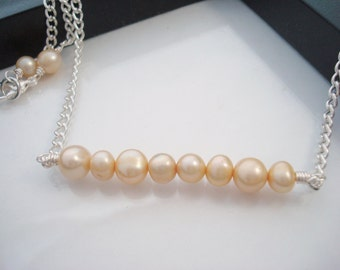 Pearl Necklace, Silver Necklace, Beaded Bar Necklace, Cream Pearl Necklace, Freshwater Pearl Necklace, Modern Necklace, Everyday Jewelry