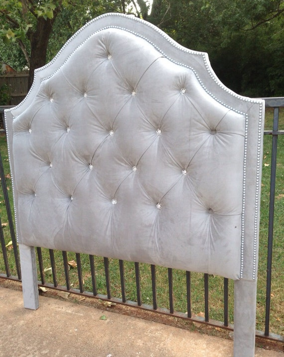 Tufted Headboard Gray Velvet King Queen Full Twin Rhinestone