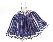 Metallic Blue Iris Beaded Tassel Dangly Statement Earrings - Sterling Silver Earwire