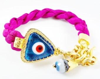 Stackable Turkish Gypsy Bracelet Translucent Blue Evil Eye & Berry Violet Silk - Triangular Artisan Glass Bead, 22k matte gold plated