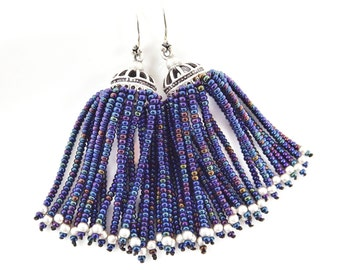 Metallic Blue Iris Beaded Tassel Dangly Statement Earrings - Sterling Silver Earwire