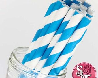 Stripe Malibu Blue Party Paper Straws - Cake Pop Sticks - Pixie Sticks - Qty 25