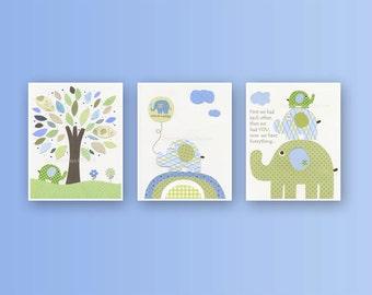 Elephant Nursery Wall Art - Baby Boy Elephant Decor - Kids Wall Art - Elephant Nursery Decor - Elephant Prints - Baby Boy Elephants Artwork